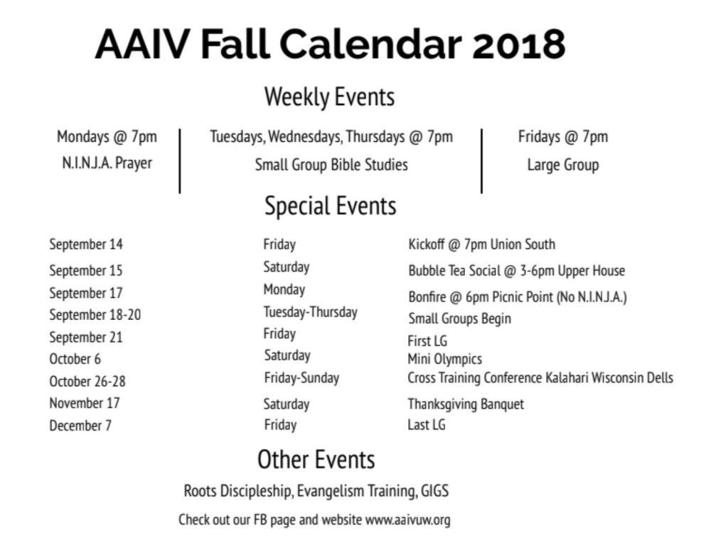 AAIV Fall Calendar 2018
